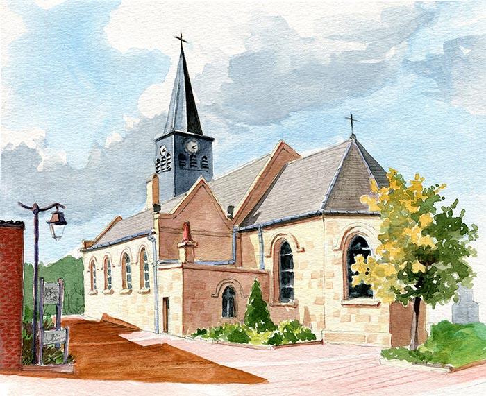 Eglise d'Hordain - Nord, France - Aquarelle