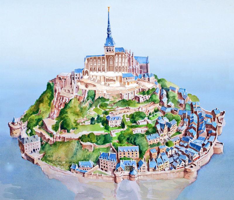 Mont-St-Michel avec éclaté de la basilique